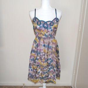 Anthropologie Loops & Blocks Silk Dress